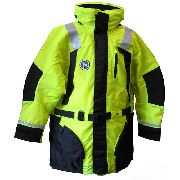 First Watch Hi-Vis Flotation Coat - Hi-Vis Yellow/Black - Medium [AC-1100-HV-M] - Point Supplies Inc.