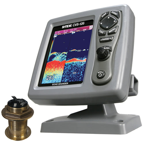 SI-TEX CVS-126 Dual Frequency Color Echo Sounder w-B60 20 Transducer B-60-20-CX [CVS-1266020] - point-supplies.myshopify.com