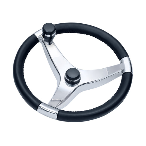 Ongaro Evo Pro 316 Cast Stainless Steel Steering Wheel w-Control Knob - 13.5