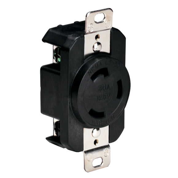 Marinco 305CRRB 125V 30Amp Locking Receptacle - Black [305CRRB] - Point Supplies Inc.