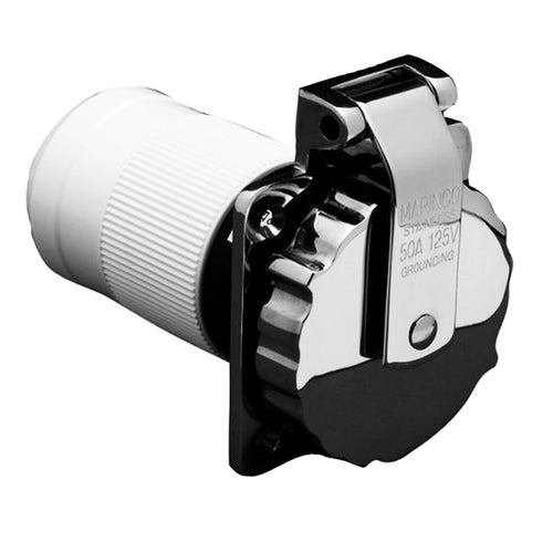 Marinco 6371EL-B 50Amp-125V Stainless Steel Inlet [6371EL-B] - point-supplies.myshopify.com