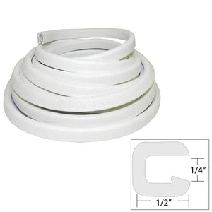 "TACO Flexible Vinyl Trim - 1/4"" Opening x 1/2""W x 25'L - White [V30-1008W25-1] - Point Supplies Inc."