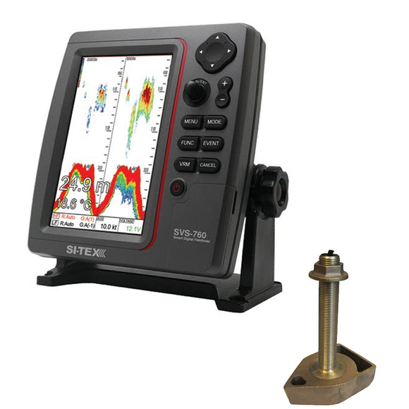 SI-TEX SVS-760 Dual Frequency Sounder 600W Kit w/Bronze Thru-Hull Temp Transducer - 1700/50/200T-CX [SVS-760TH] - Point Supplies Inc.