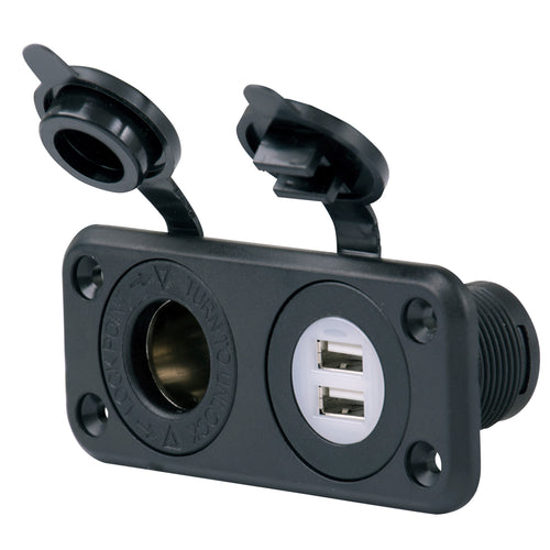 Marinco SeaLink Deluxe Dual USB Charger & 12V Receptacle [12VCOMBO]-Marinco-Point Supplies Inc.