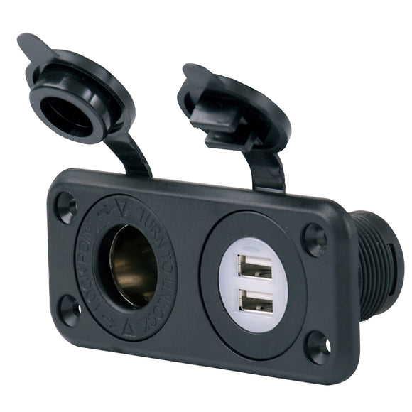 Marinco SeaLink Deluxe Dual USB Charger & 12V Receptacle [12VCOMBO] - Point Supplies Inc.