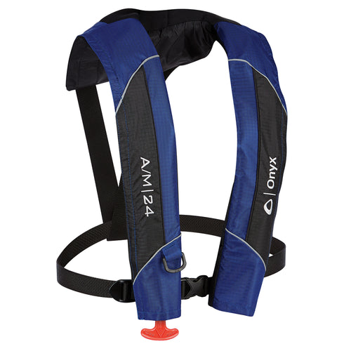 Onyx A-M-24 Automatic-Manual Inflatable PFD Life Jacket - Blue [132000-500-004-15] - point-supplies.myshopify.com