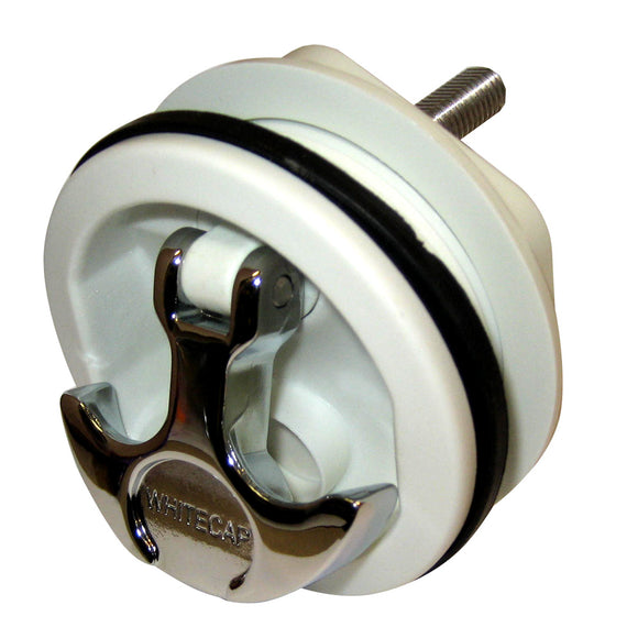Whitecap T-Handle Latch - Chrome Plated Zamac-White Nylon - No Lock - Freshwater Use Only [S-230WC] - point-supplies.myshopify.com