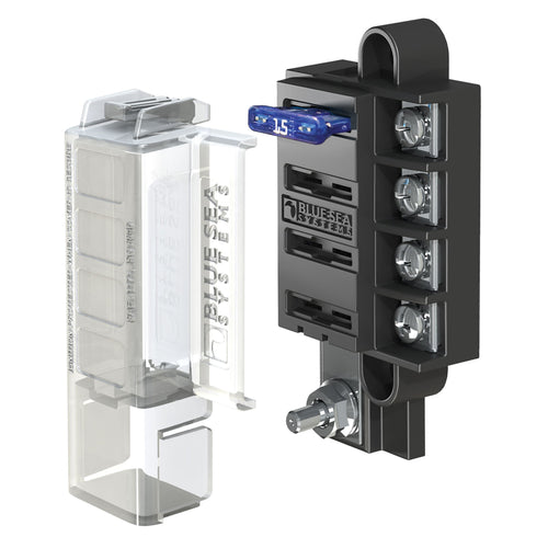 Blue Sea 5045 ST Blade Compact Fuse Blocks - 4 Circuits w-Cover [5045] - point-supplies.myshopify.com
