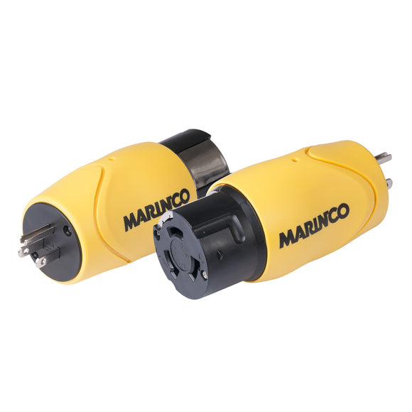 Marinco Straight Adapter - 15A Male Straight Blade to 50A 125/250V Female Locking [S15-504] - Point Supplies Inc.