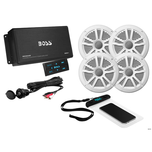 Boss Audio ASK904B.64 4-Channel Bluetooth Amplifier w-4 Speakers [ASK904B.64] - point-supplies.myshopify.com