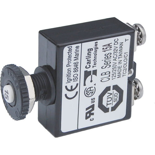 Blue Sea Push Button Reset Only Screw Terminal Circuit Breaker - 15 Amps [2133]-Blue Sea Systems-Point Supplies Inc.