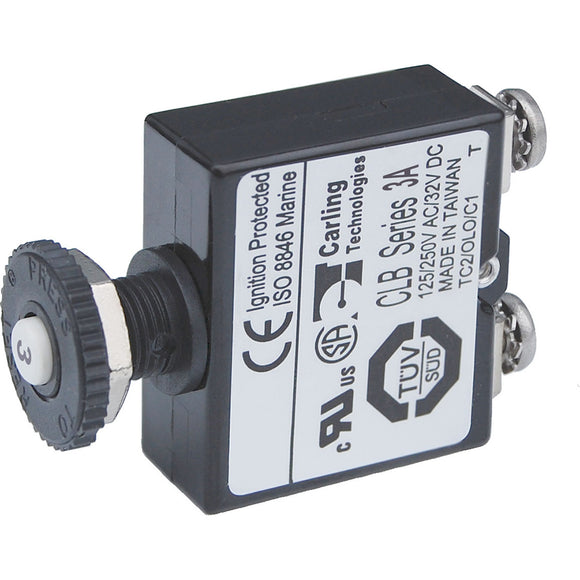 Blue Sea Push Button Reset Only Screw Terminal Circuit Breaker - 3 Amps [2129] - Point Supplies Inc.