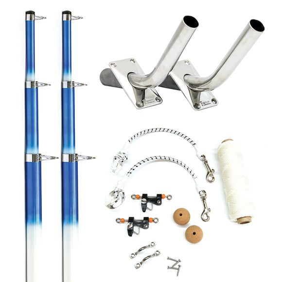 Tigress 15' Fiberglass Telescoping Outrigger System - White/Blue [88200-1] - Point Supplies Inc.