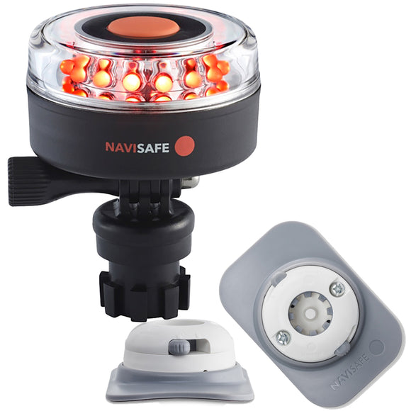Navisafe Navilight All RED 360 2NM w/Navimount Base  RIB Mount - White [045KIT4] - Point Supplies Inc.