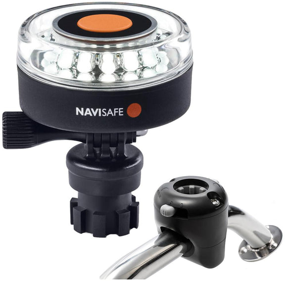 Navisafe Navilight 360 2NM White w/Navimount Base  Rail Mount - Black [040KIT] - Point Supplies Inc.
