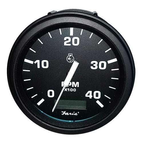 Faria Tachometer Heavy-Duty Tachometer w-Hourmeter (4000 RPM) (Diesel) (Mech Takeoff Var Ratio Alt) - Black [43001]-Faria Beede Instruments-Point Supplies Inc.
