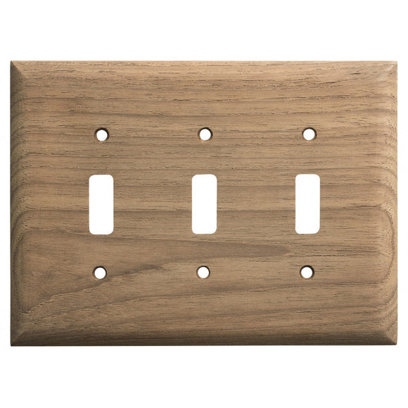 Whitecap Teak 3-Toggle Switch-Receptacle Cover Plate [60179] - point-supplies.myshopify.com