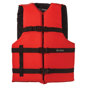 Onyx Nylon General Purpose Life Jacket - Adult Universal - Red [103000-100-004-12] - Point Supplies Inc.