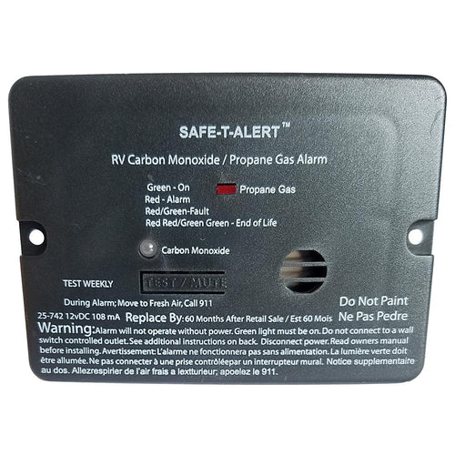 Safe-T-Alert Combo Carbon Monoxide Propane Alarm - Surface Mount - Mini - Black [25-742-BL] - point-supplies.myshopify.com
