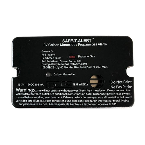 Safe-T-Alert 45-Series Combo Carbon Monoxide Propane Alarm Surface Mount - Black [45-741-BL] - point-supplies.myshopify.com