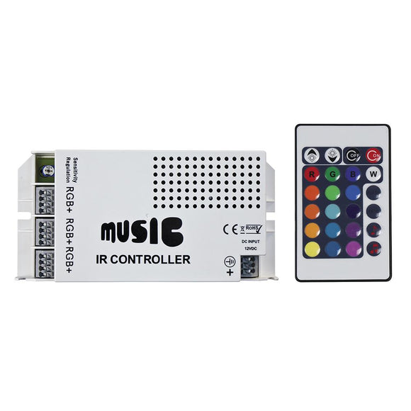 HEISE Sound Activated RGB Controller w/IR Remote [HE-RGBSAC-1] - Point Supplies Inc.