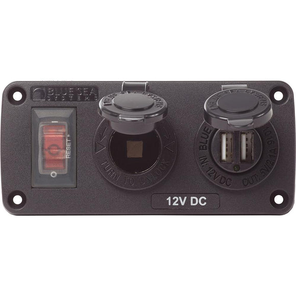 Blue Sea 4363 Water Resistant USB Accessory Panels - 15A Circuit Breaker, 12V Socket, 2.1A Dual USB Charger [4363] - Point Supplies Inc.