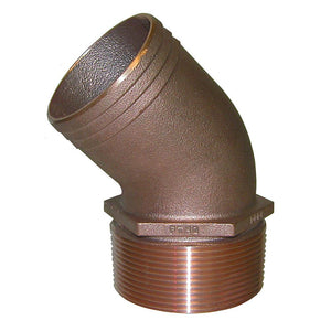 "GROCO 1-1-2"" NPT Bronze 45 Degree Pipe to 1-1-2"" Hose [PTHD-1500]-GROCO-Point Supplies Inc."