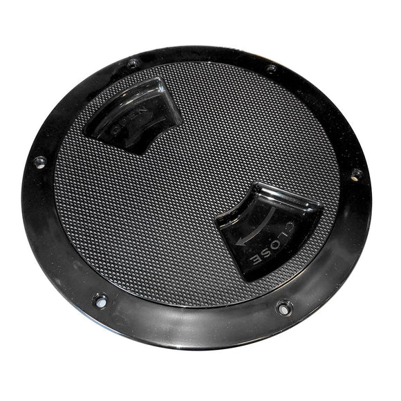 Sea-Dog Quarter-Turn Textured Deck Plate w/Internal Collar - Black - 8