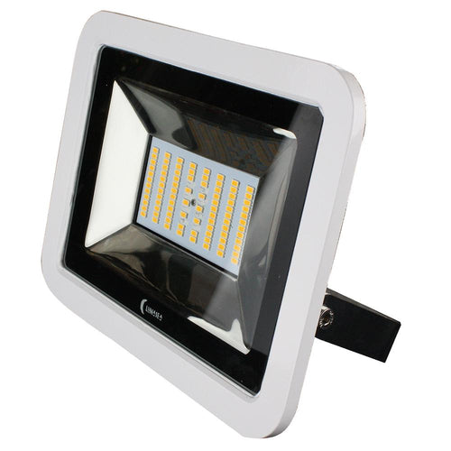 Lunasea 35W Slimline LED Floodlight, 120-240VAC Only, Cool White, 4500 Lumens, 3 Cord - White Housing [LLB-36MN-41-00] - point-supplies.myshopify.com