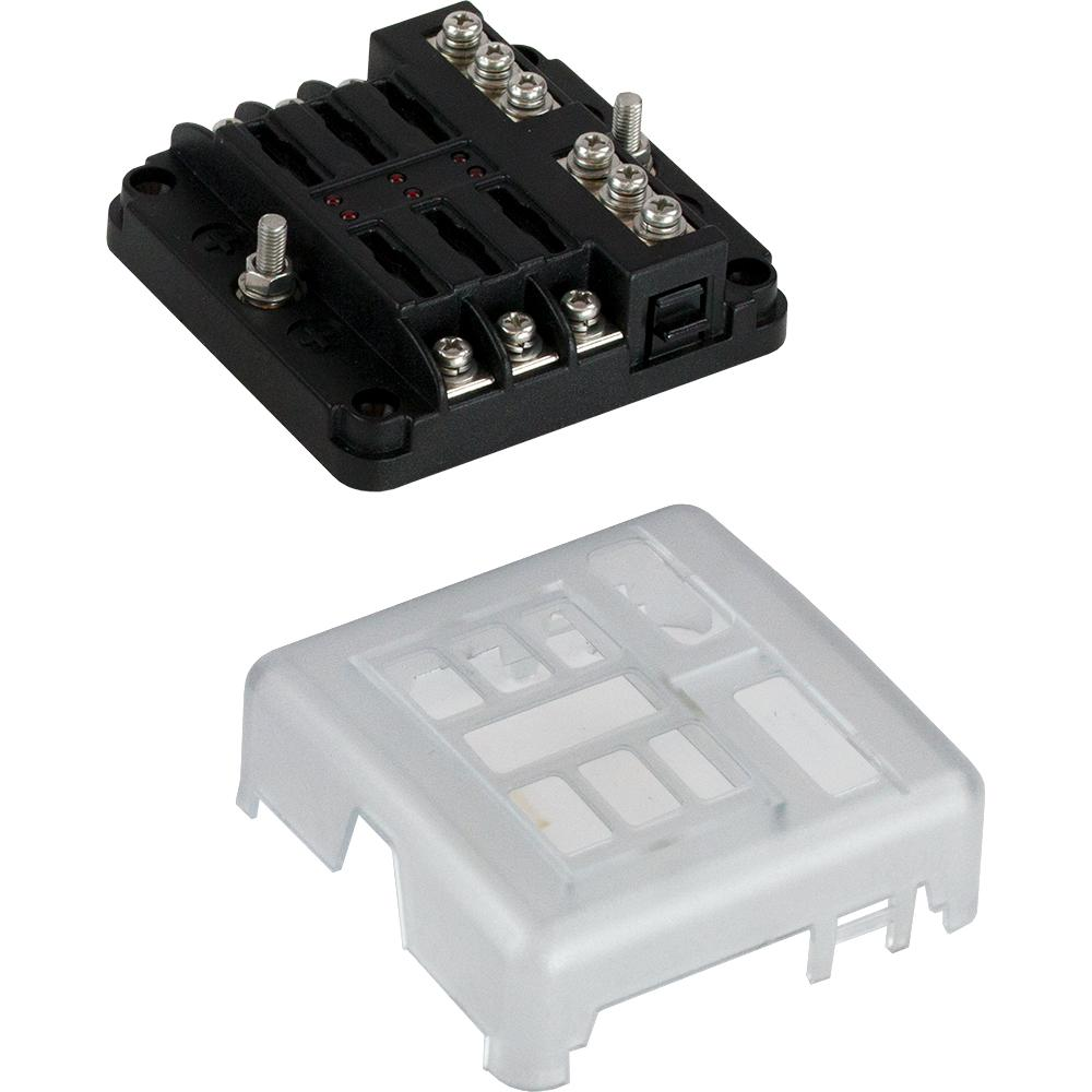 Sea-Dog Blade Style LED Indicator Fuse Block w-Negative Bus Bar - 6 Circuit [445185-1] - point-supplies.myshopify.com