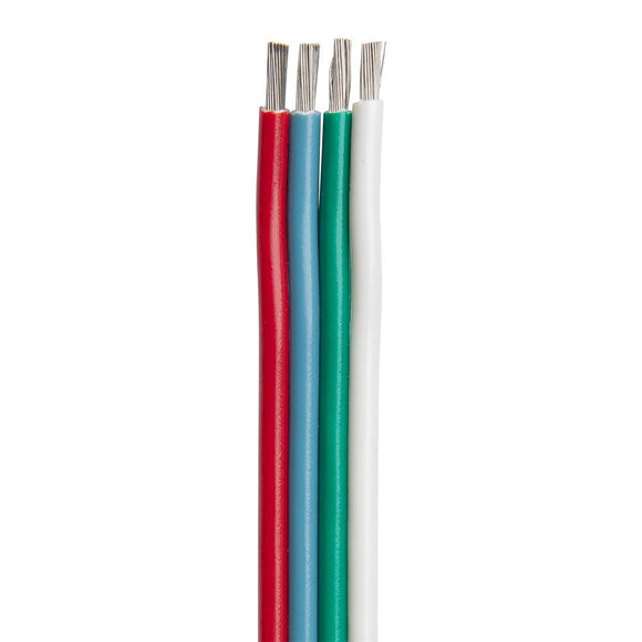 Ancor Flat Ribbon Bonded RGB Cable 18/4 AWG - Red, Light Blue, Green  White - 100 [160010] - Point Supplies Inc.