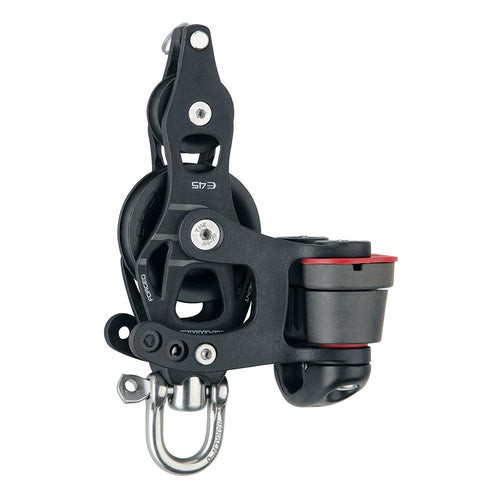 Harken 45mm Single Aluminum Element Fiddle Block w-Swivel, Becket  150 Cam Cleat [6234]