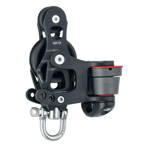 Harken 45mm Single Aluminum Element Fiddle Block w-Swivel  150 Cam Cleat [6235]