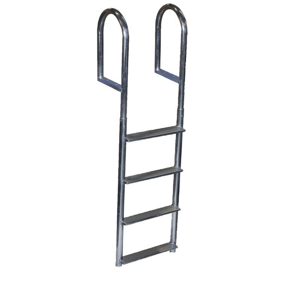 Dock Edge Welded Aluminum Fixed Wide Step Ladder - 4-Step [DE2044F] - Point Supplies Inc.