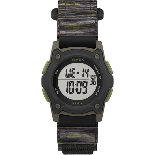 Timex Kids Digital 35mm Watch - Green Camo w-Fastwrap Strap [TW7C77500XY]