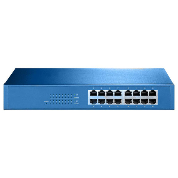 Aigean 16-Port Network Switch - Desk or Rack Mountable - 100-240VAC - 50/60Hz [NS-16] - Point Supplies Inc.