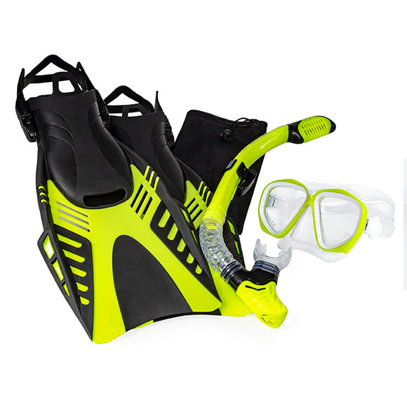 Aqua Leisure Dyna Adult 5-Piece Dive Set - Adult Size M/L Mens 4.5-8.5/Ladies 5.5-9.5 [DPX18230S3M]