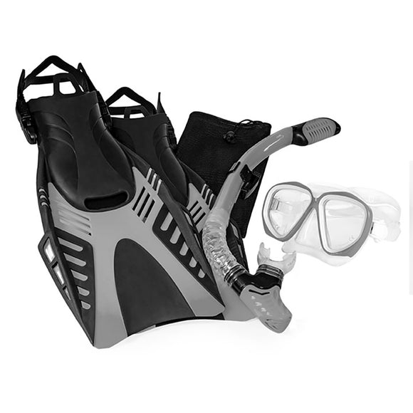 Aqua Leisure Dyna Adult 5-Piece Dive Set - Adult Size L/XL Mens 8.5-11.5/Ladies 9.5-12.5 [DPX18230S4L]