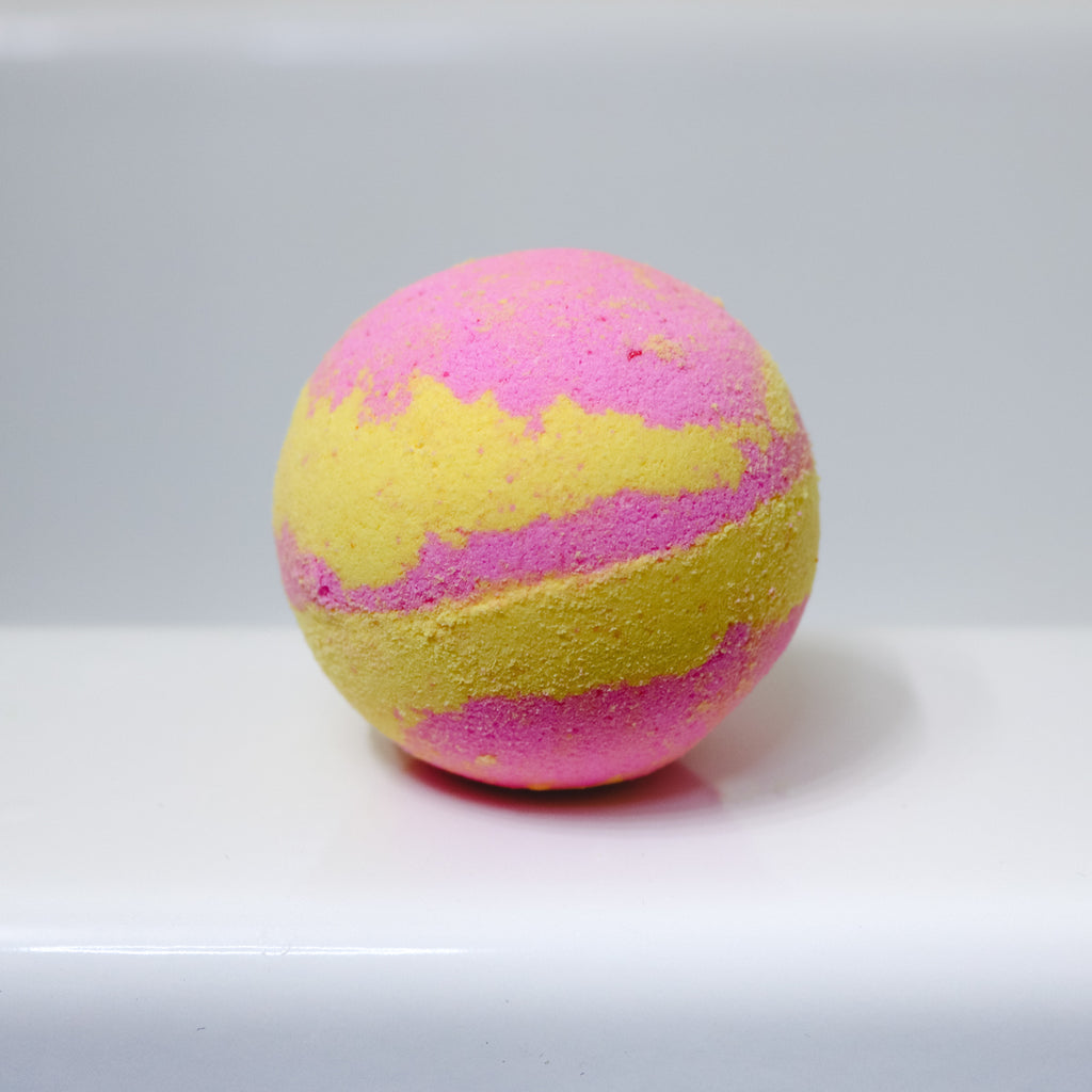Spring Fever Pink and Yellow Bath Bomb from Bombs Away Handmade in Manitoba