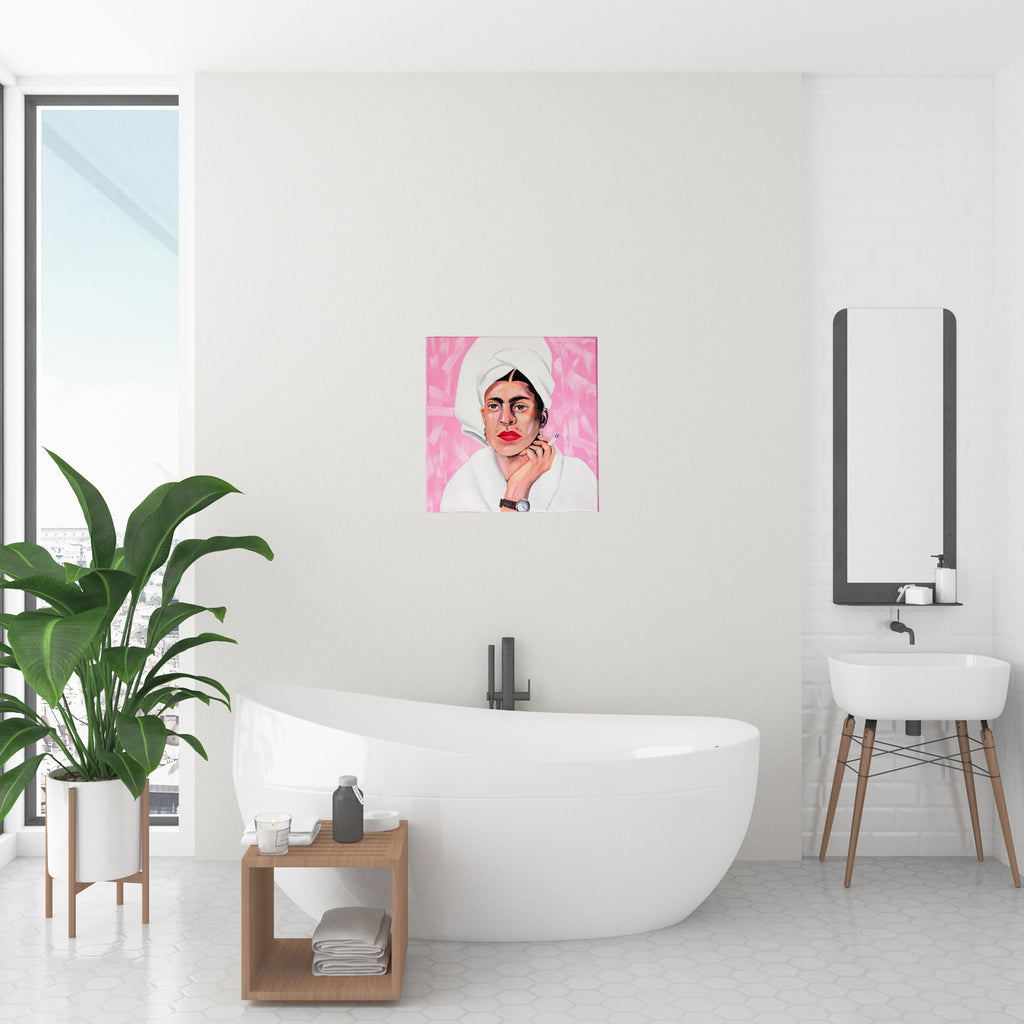 "Frida Kahlo in Bath Robe Original [12"" X 12""] Oil Painting on Canvas"