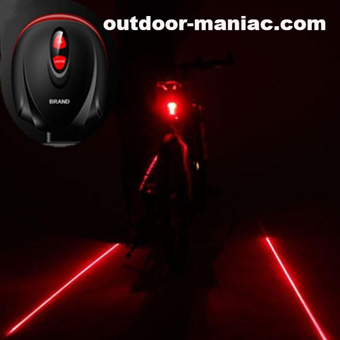 Bike Light  2 Laser Projector Red Lamps Beam and 3 LED Rear Tail Lights Bicycle Accessories