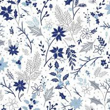 Blue Holiday - Paintbrush Studio - Leaf Floral White