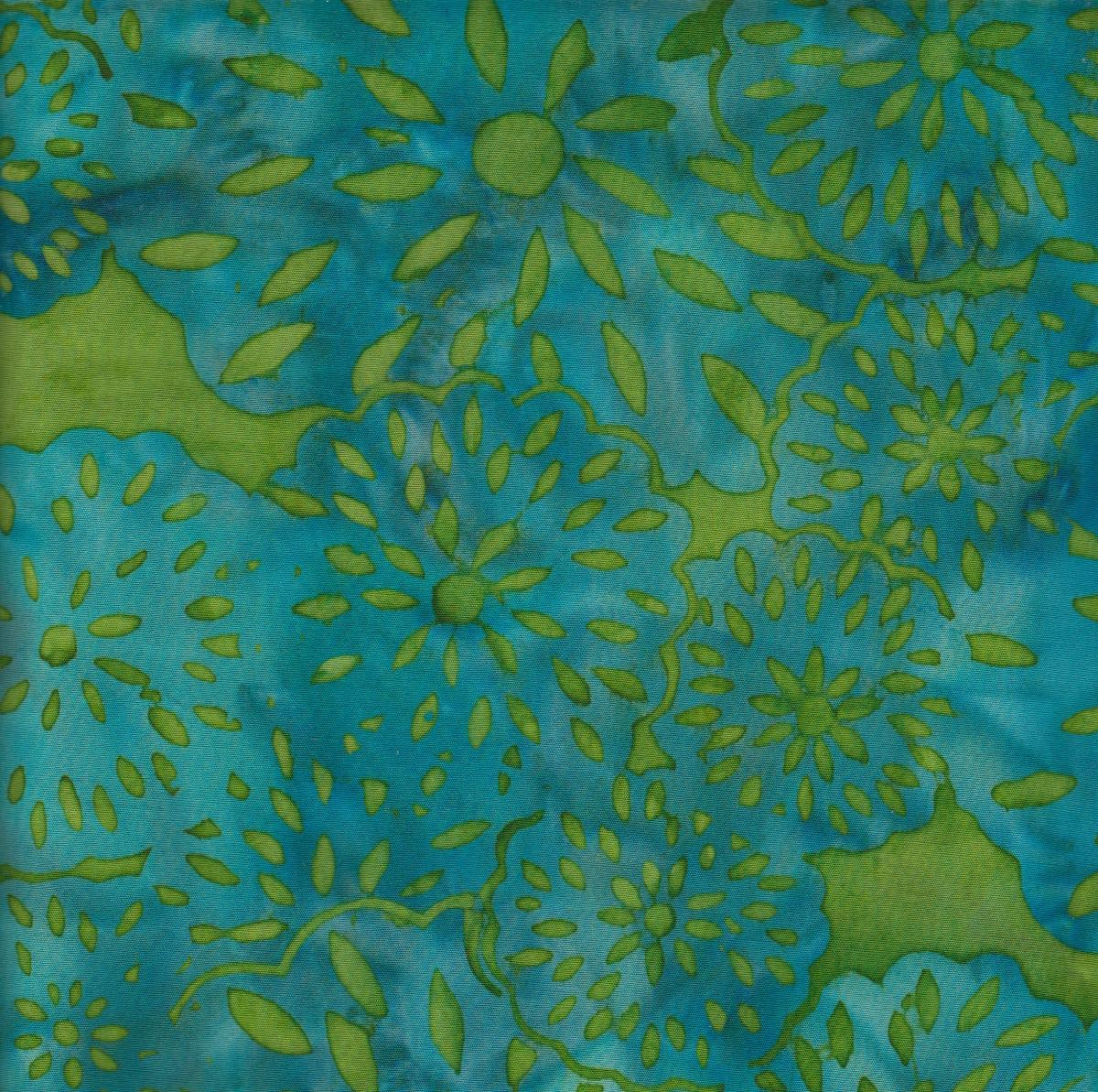 Island Batik - Turquoise and Lime Green
