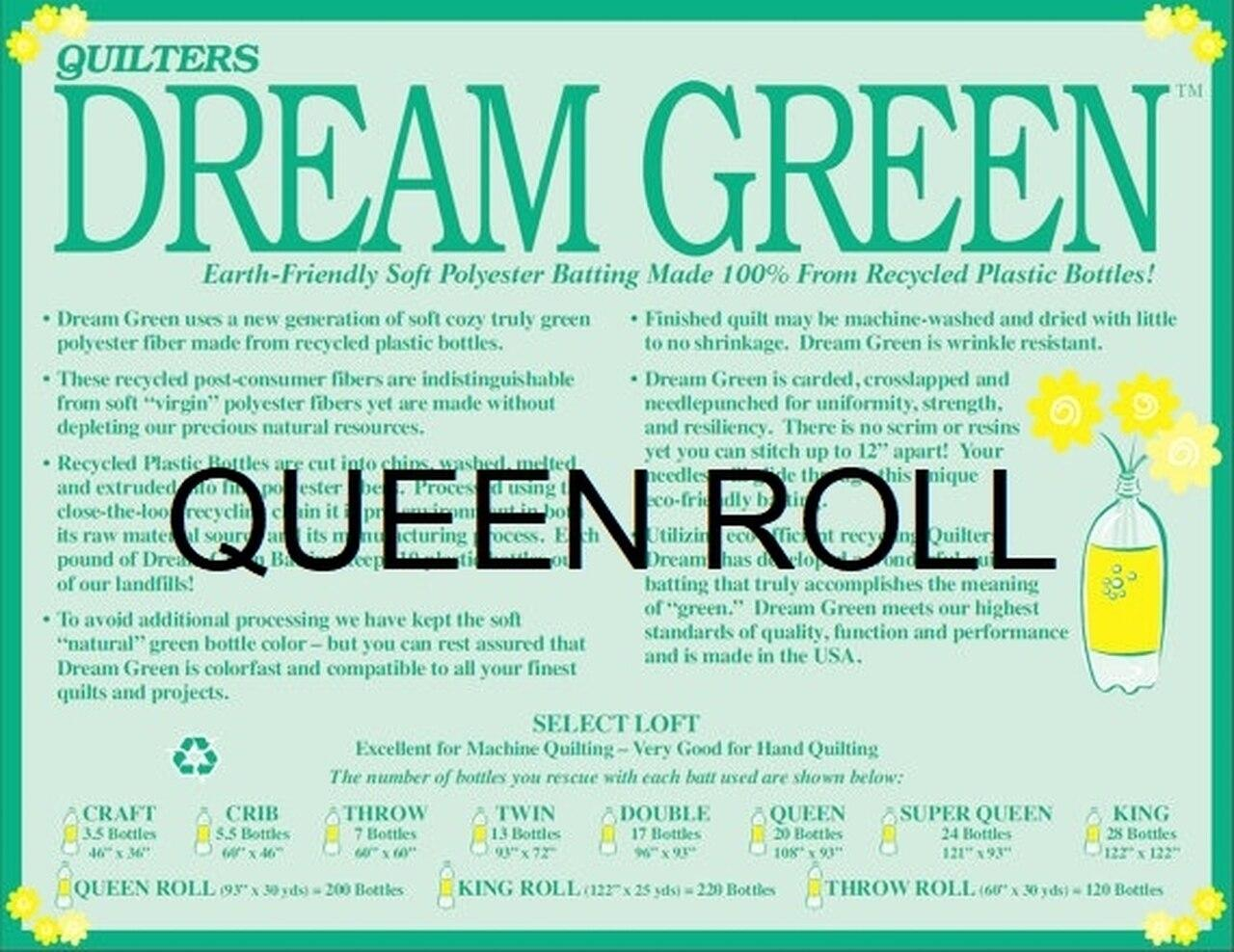 Quilters Dream Queen Green Roll - Recycled Material