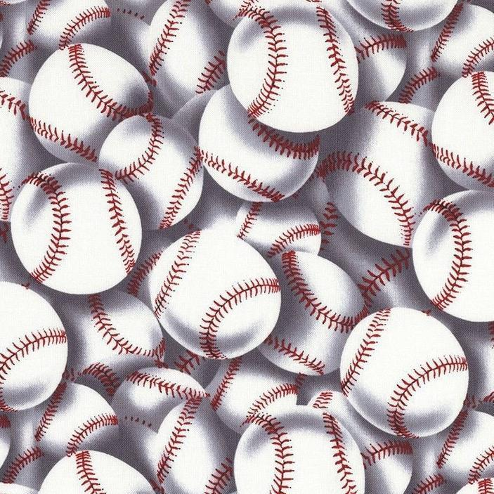 Timeless Treasures - Baseballs - White