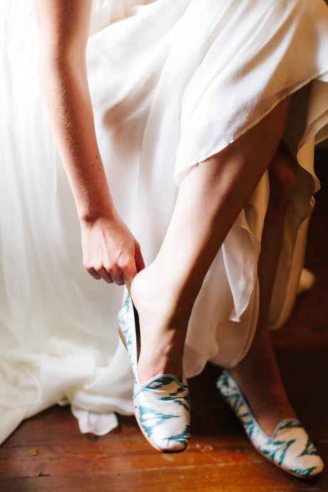 Bride, Riley Sheehey, in our Jane Silk Loafers