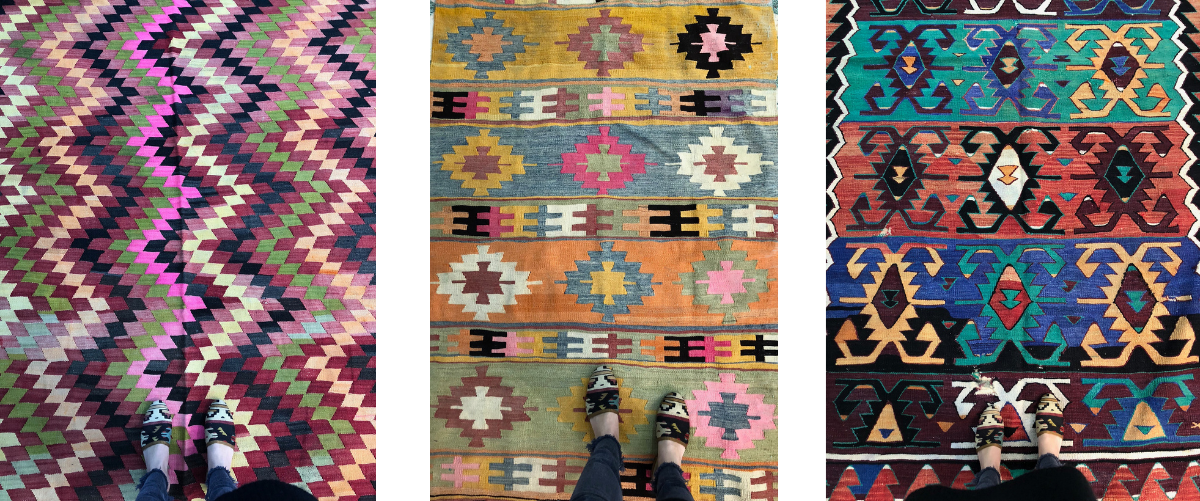 Kilim shoes on carpets, kilims and rugs