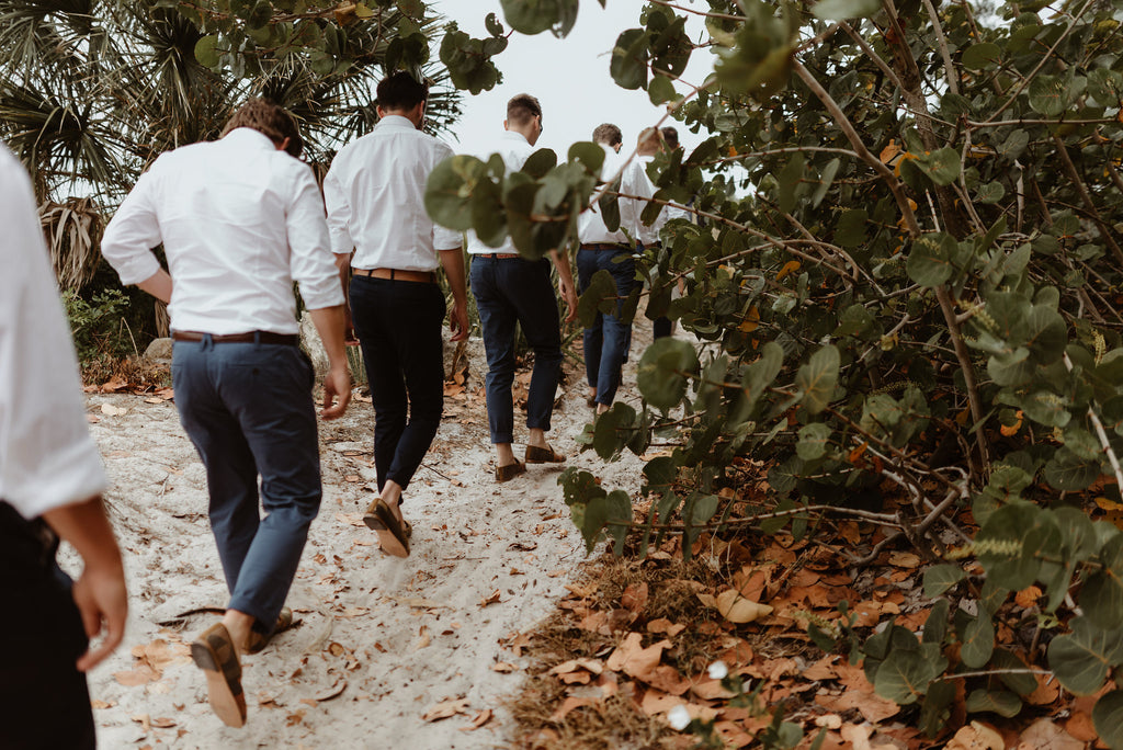 groomsmen heading to the beach in their custom mens kilim loafers