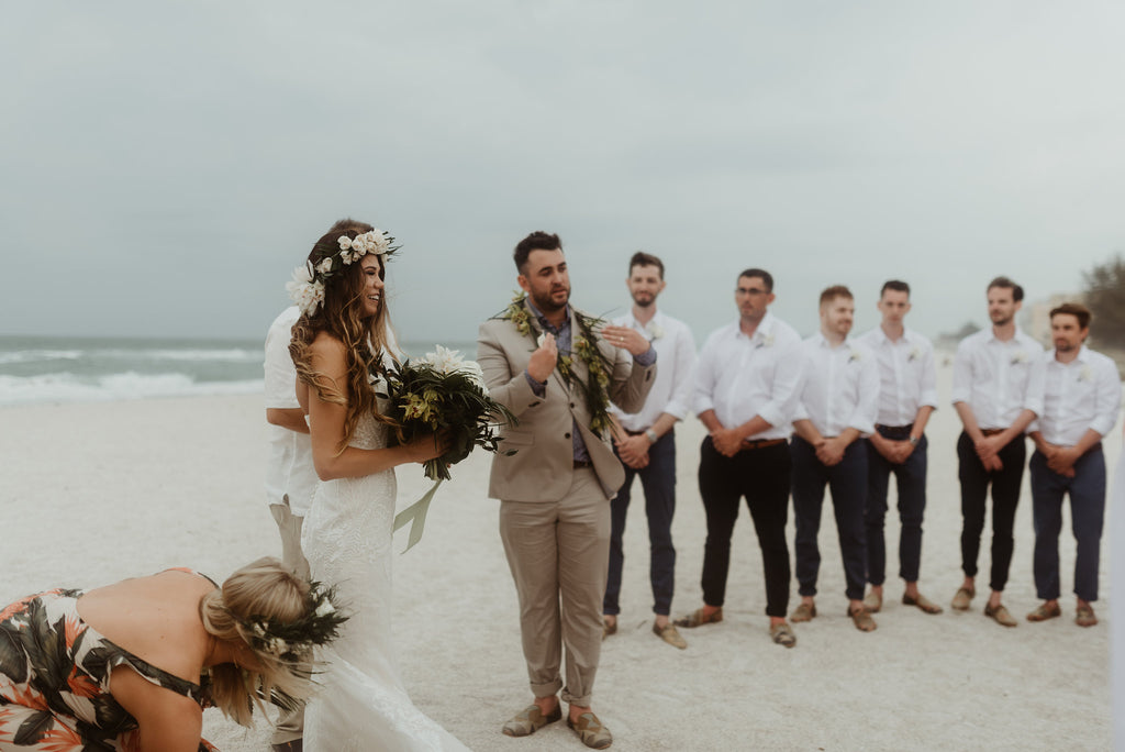 groomsmen wearing kilim loafers during the ceremony