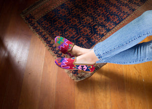 Women's Kilim shoes worn by Model Yasmine in Westport, CT.